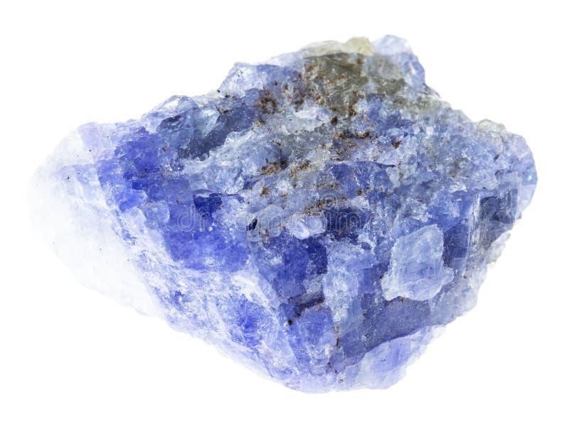 surowy tanzanite kamień na bielu zdjęcia royalty free