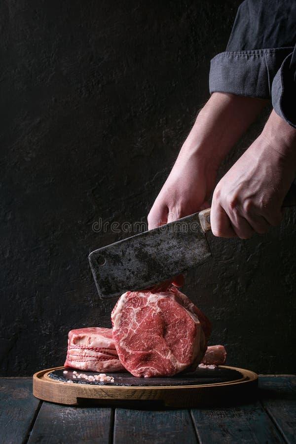 Surowy tomahawka stek obrazy royalty free