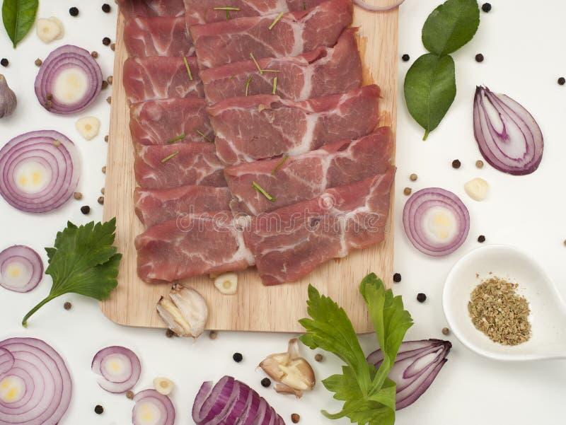 Surowy wieprzowiny ramię z doprawiać pikantność japończyk i azjata jedzenie zdjęcia stock