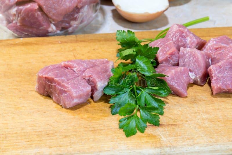 Surowy wieprzowiny szyi mięsa cięcie w plasterkach obrazy stock