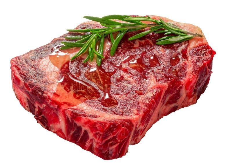 Surowy wołowina ziobro oka świeżego mięsa stek odizolowywający na bielu obraz royalty free