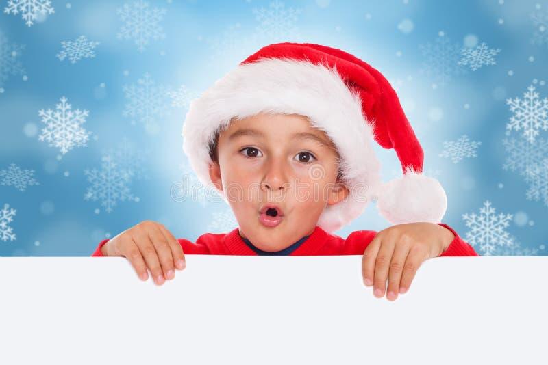 Surp vazio do copyspace da bandeira de Santa Claus do cartão de Natal da criança da criança foto de stock royalty free