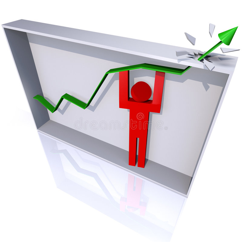 Surpassing the Goal. 3D render of a person lifting a trend line to burst from its bounding box royalty free illustration