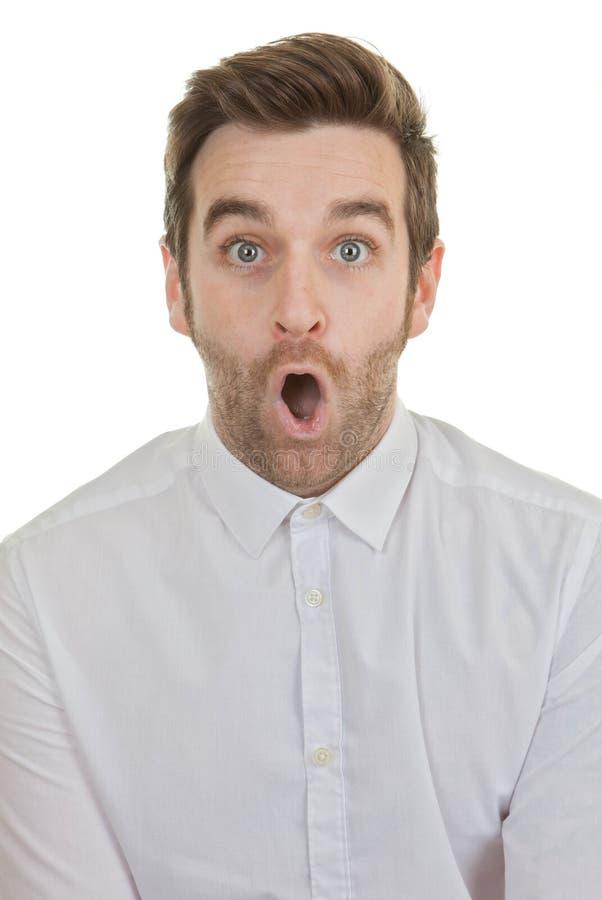 Surpise冲击了开放人的嘴 库存照片