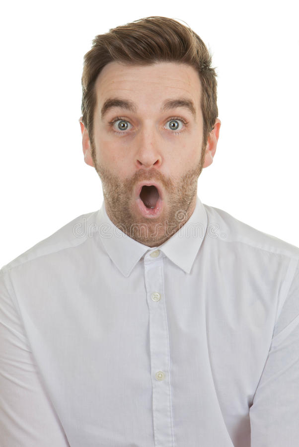 Surpise shocked man mouth open stock photos