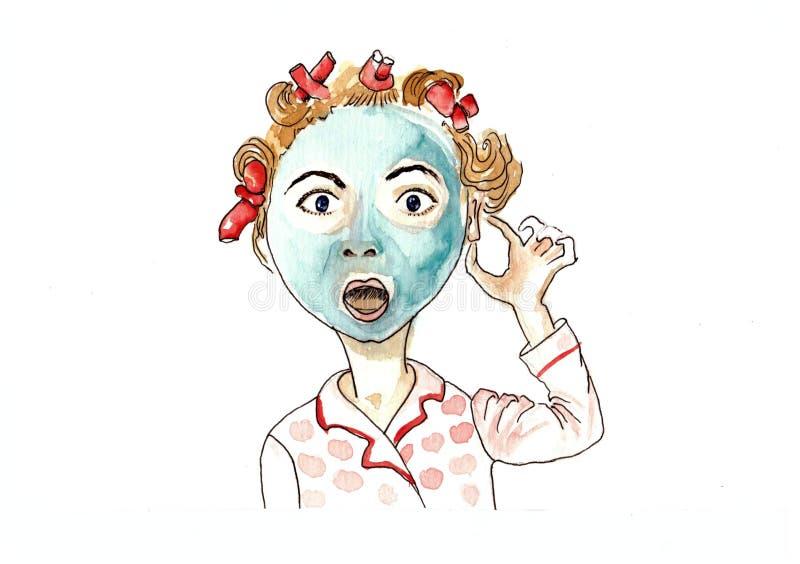 Surpreenda a máscara da mulher ilustração do vetor