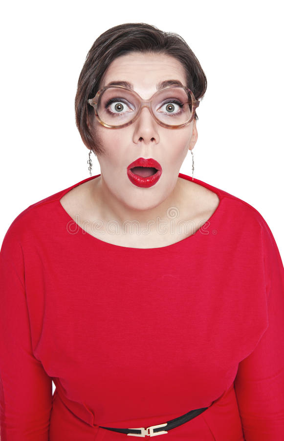 Surpreendido mais a mulher do tamanho olhar em você isolou-se Vista superior imagem de stock royalty free