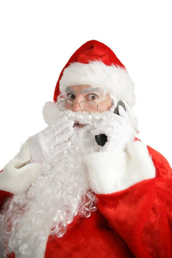 Surpresa do telemóvel de Santa fotos de stock