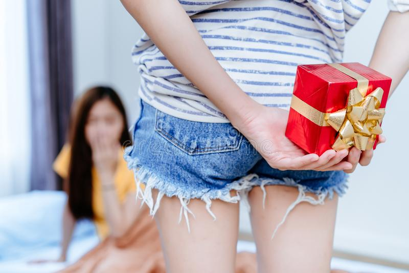 Surpresa dos pares da lésbica LGBT com caixa de presente para dar à amiga fotos de stock