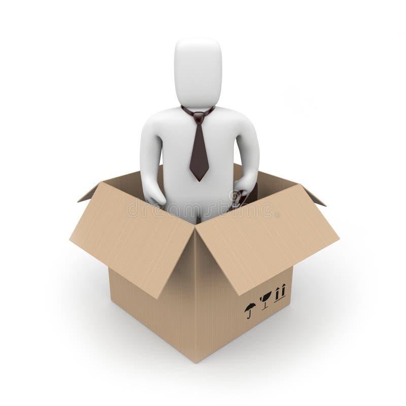 Surpresa. Homem de negócios em uma caixa ilustração do vetor