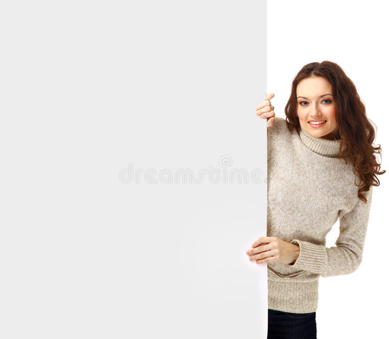 Surpriced woman holding sign stock photo