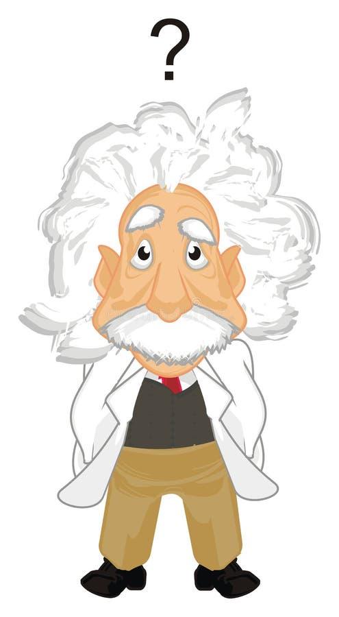 Surprise Albert Einstein. Albert Einstein stand with question mark royalty free illustration
