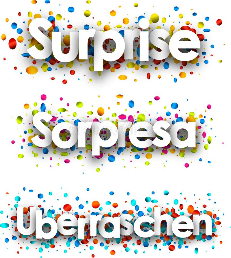 Surprise banner with colorful confetti. vector illustration