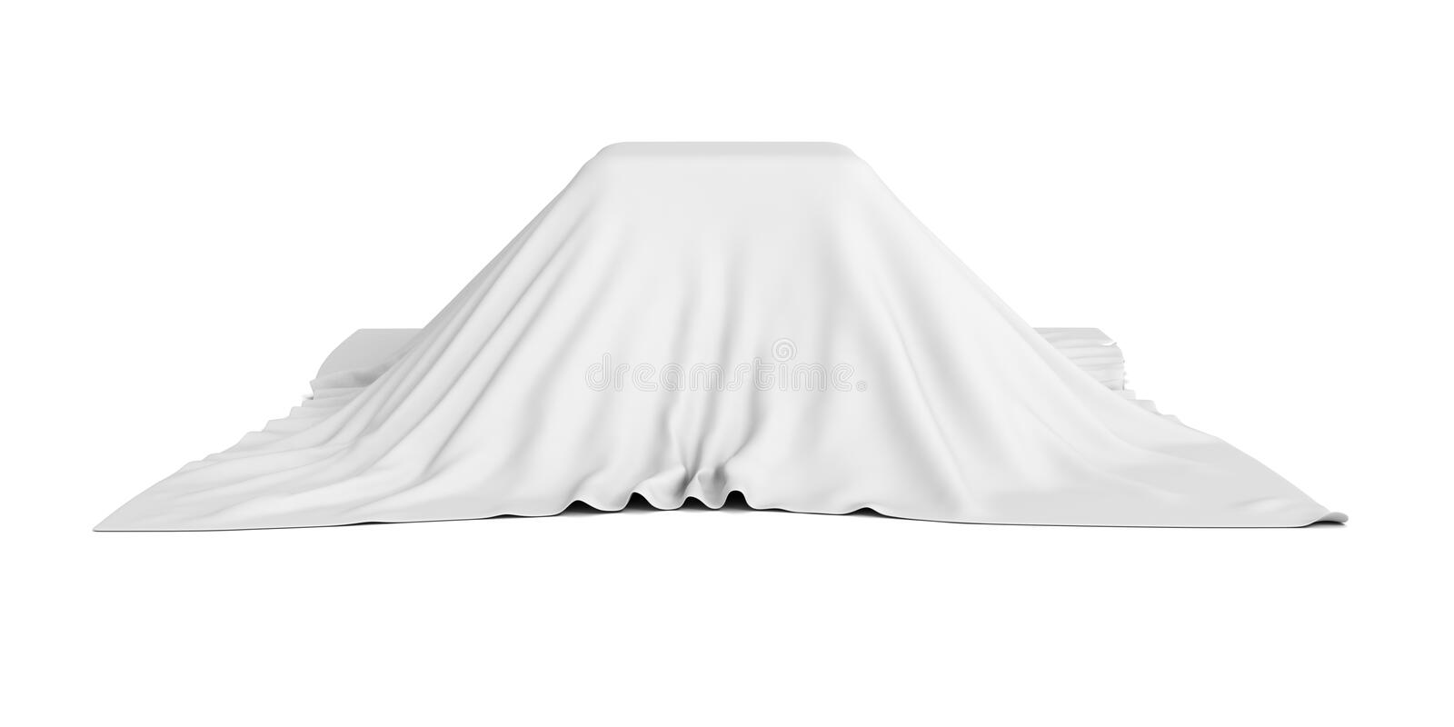 Surprise box covered with white cloth. 3d render illustration stock images