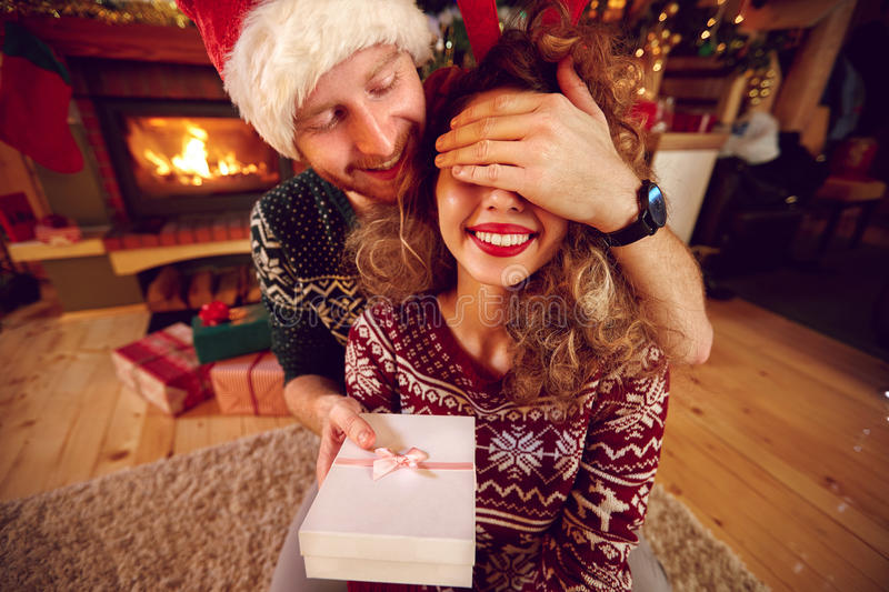 Surprise with Christmas gift stock image