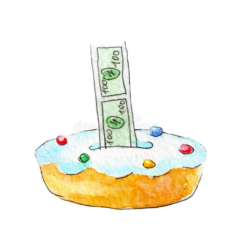 Surprise de gâteau d'argent Croquis d'aquarelle d'une tendance de cadeau d'anniversaire Tarte qui distribue l'argent liquide Illu illustration stock