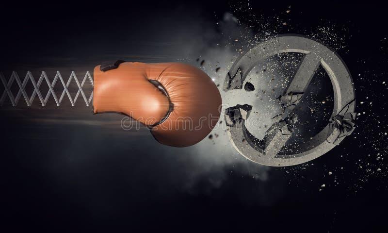 Surprise de gant de boxe Media mélangé photos libres de droits