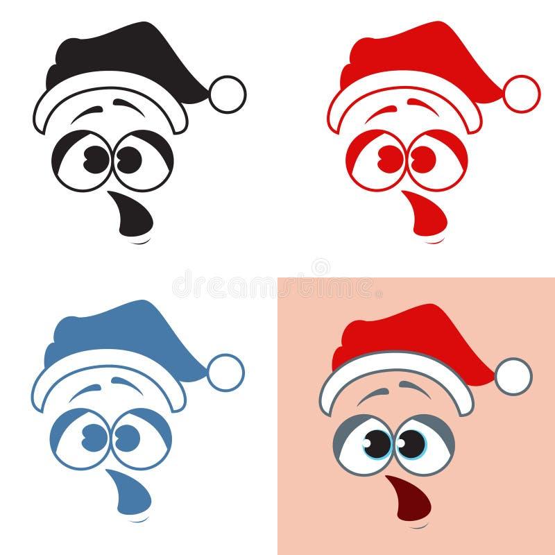Surprise de Santa Claus d'autocollant Ouverture de la bouche émotions Vecto illustration libre de droits