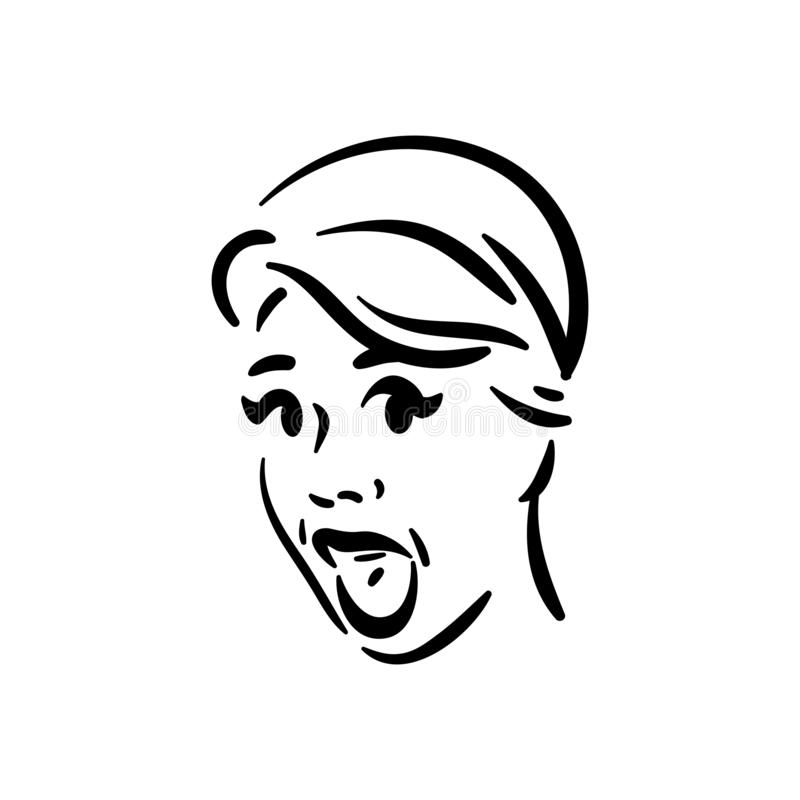Surprise exited emotion woman face icon on white background vector illustration