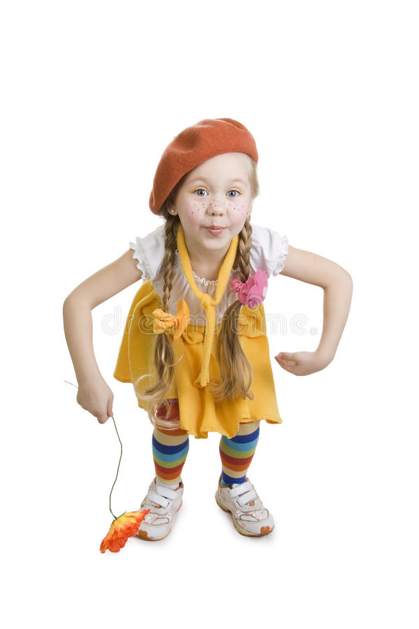 Surprise fashionable little girl. stock photography