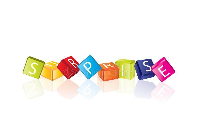 Surprise - lettres de cube illustration libre de droits