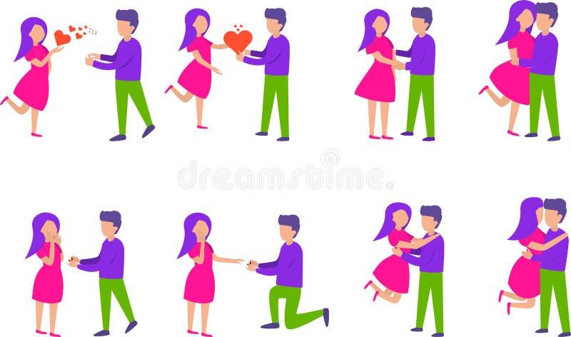 Surprise romantique Couples dans l'ensemble d'amour Dirigez l'illustration dans le style plat d'isolement sur le fond blanc illustration de vecteur