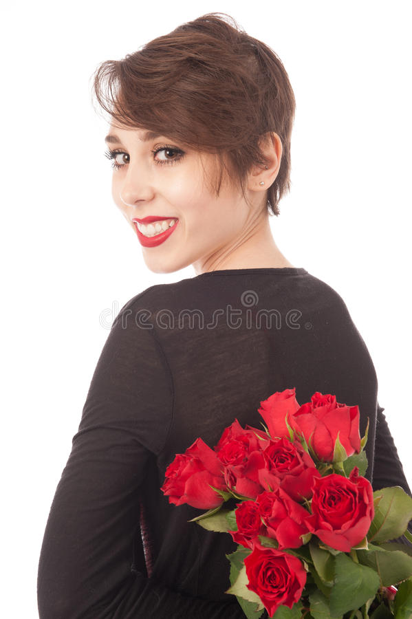 Surprise with a rose royalty free stock photo