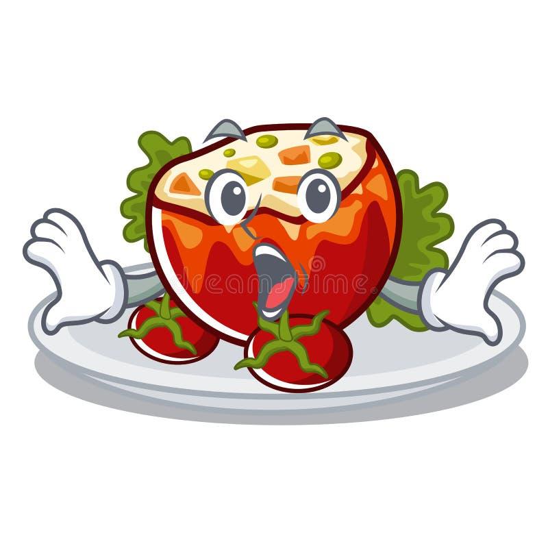 Surprised заполнило томаты на доске мультфильма иллюстрация штока
