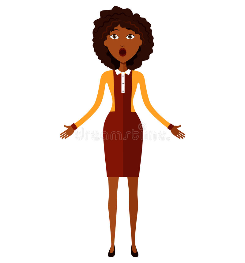 Surprised african american business woman throwing up his hands. stock photography