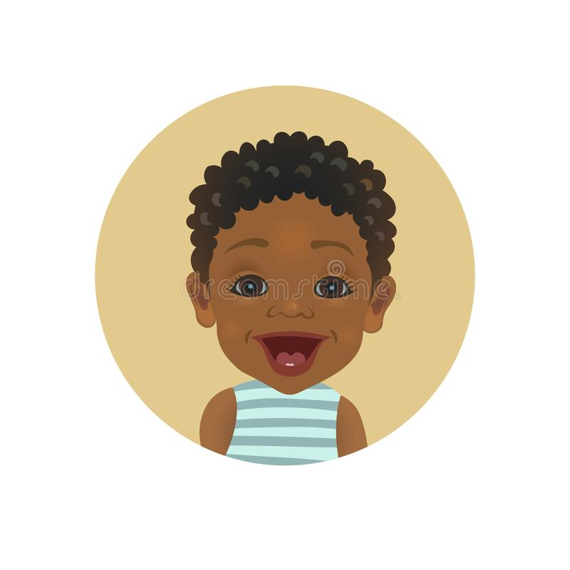 Surprised Afro American baby emoticon. Astonished African child smiley. Cute amazed dark-skinned toddler facial expression avatar vector illustration