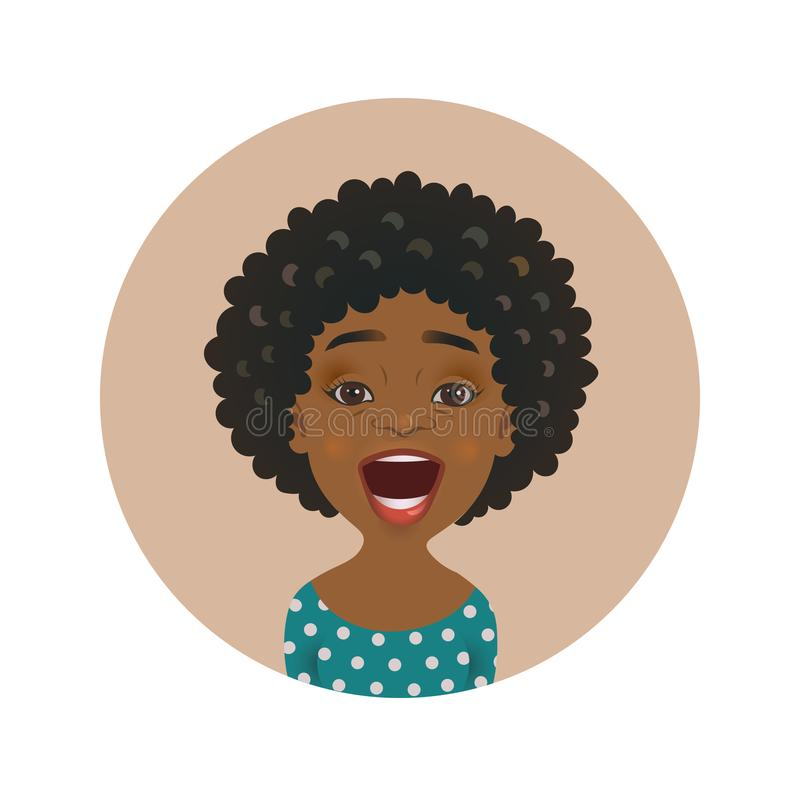 Surprised Afro American woman avatar. Astonished African girl emoticon. Cute amazed dark-skinned person facial expression royalty free illustration