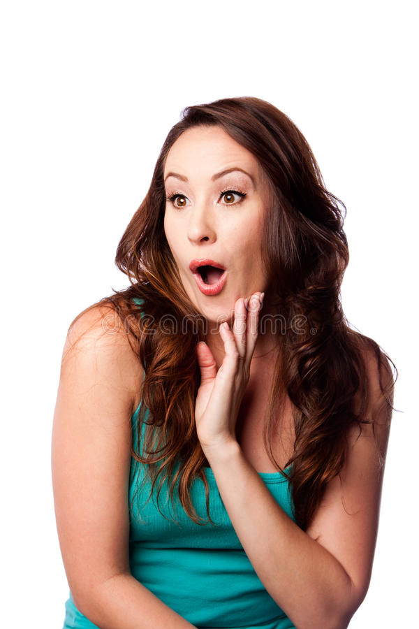 Surprised amazed young woman stock photos