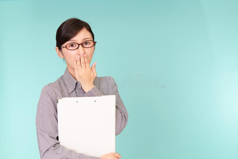 Surprised Asian woman royalty free stock photo