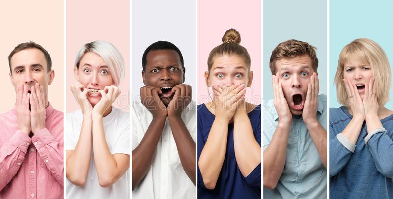 Surprised and astonished people receiving shocking unexpected news. Collage of scared and shocked men and women having surprised and astonished facial expression royalty free stock images