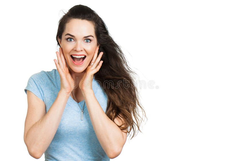 Surprised attractive woman looking at camera. royalty free stock photos