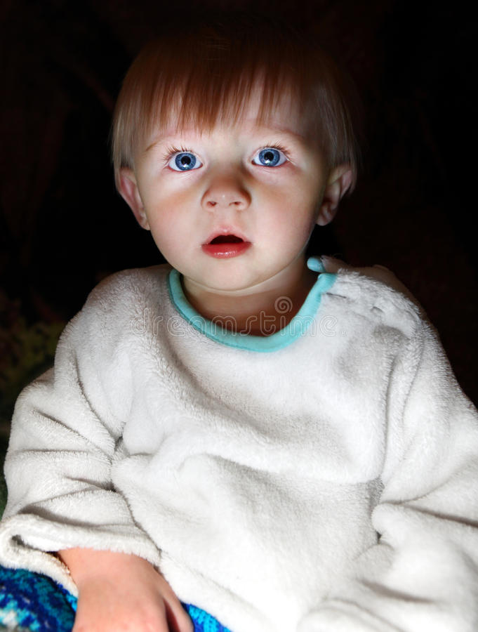 Download Surprised Baby Boy In The Dark Stock Photo - Image of delight, indoors: 37897582