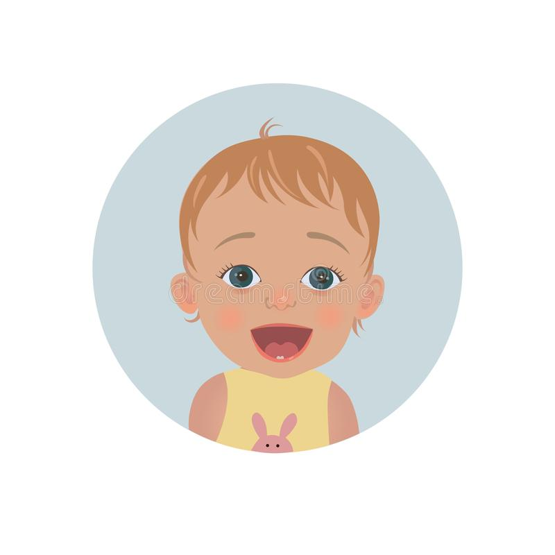 Surprised baby emoticon. Astonished child smiley. royalty free illustration