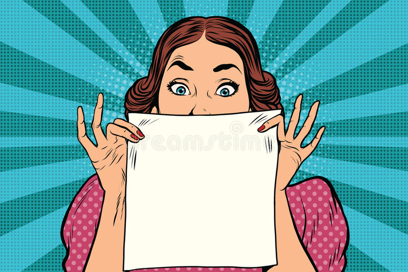 Surprised beautiful retro woman, square white sheet of paper vector illustration