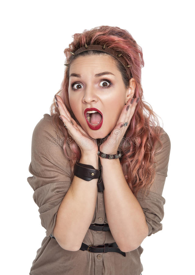 Surprised beautiful woman screaming isolated stock photos