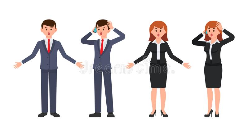 Surprised boy and girl office workers cartoon characters. Vector illustration of amazed business people. stock illustration