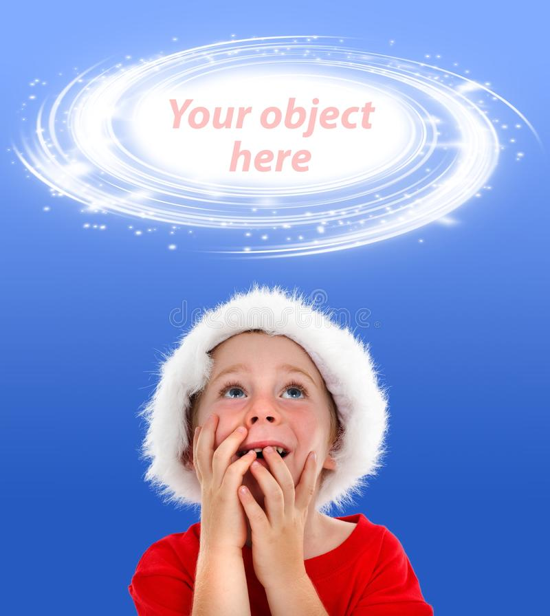 Surprised boy looking up to object placeholder