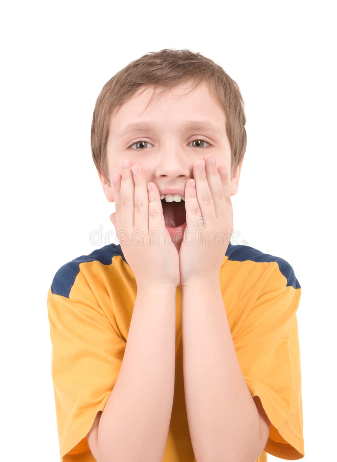 Surprised boy portrait royalty free stock photo