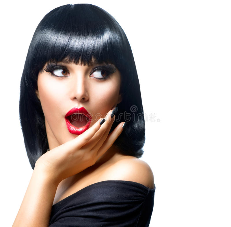 Download Surprised Brunette Girl stock photo. Image of lipstick - 28763602