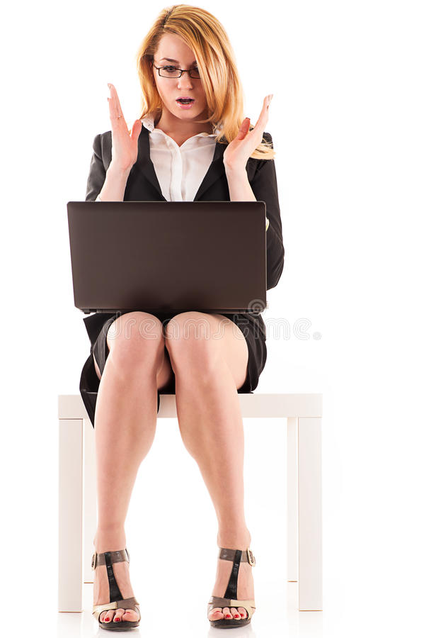 Surprised business woman royalty free stock photography