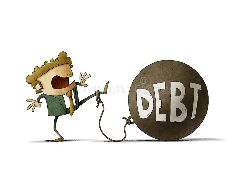 Surprised businessman tied to a big ball with the word debt. isolated. Illustration of surprised businessman tied to a big ball with the word debt. isolated stock photography