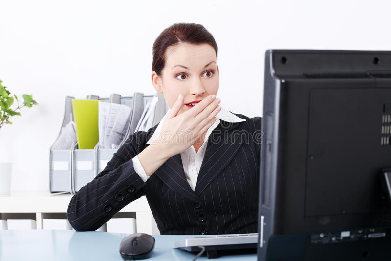 Download Surprised businesswoman stock photo. Image of monitor - 21788750