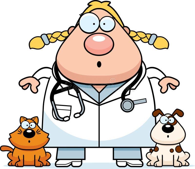 Surprised Cartoon Veterinarian stock illustration