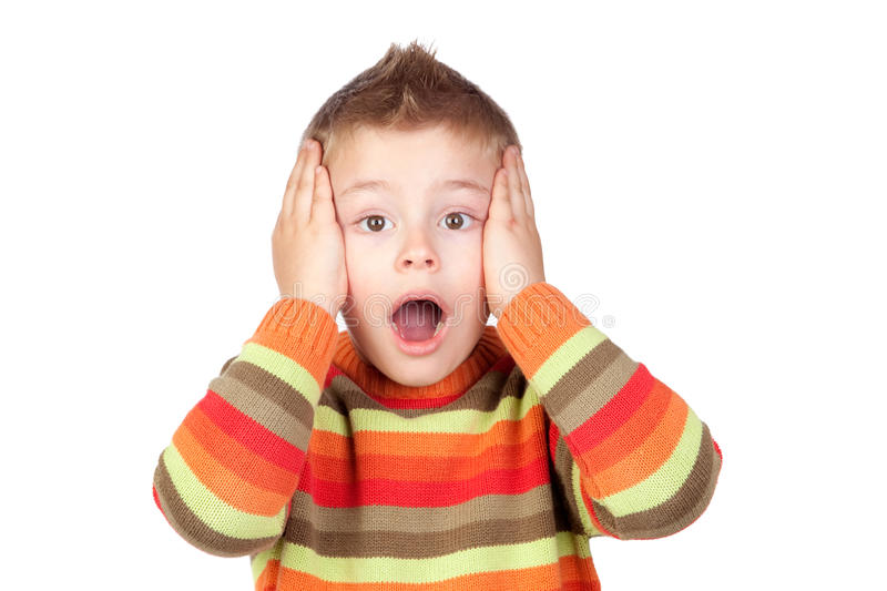 Surprised child with blond hair royalty free stock photos