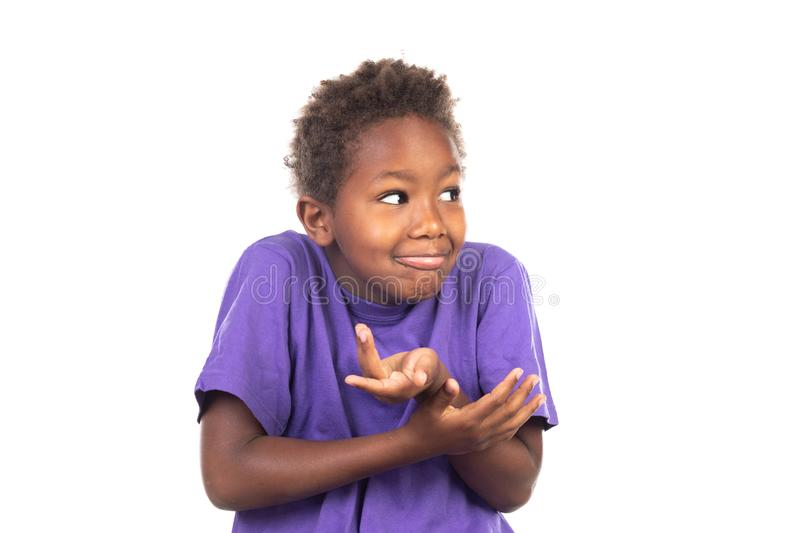 Surprised child covering his mouth stock image