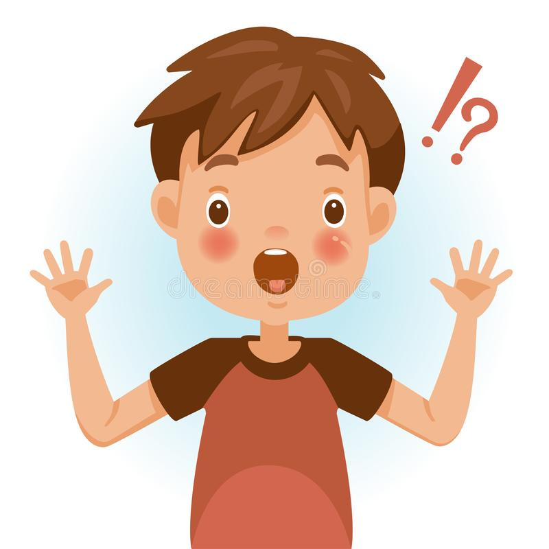 Surprised boy. Surprised children. Boy mark shocked, question mark and exclamation. Acting and feeling of a person`s face. Vector illustrations isolated on white royalty free illustration